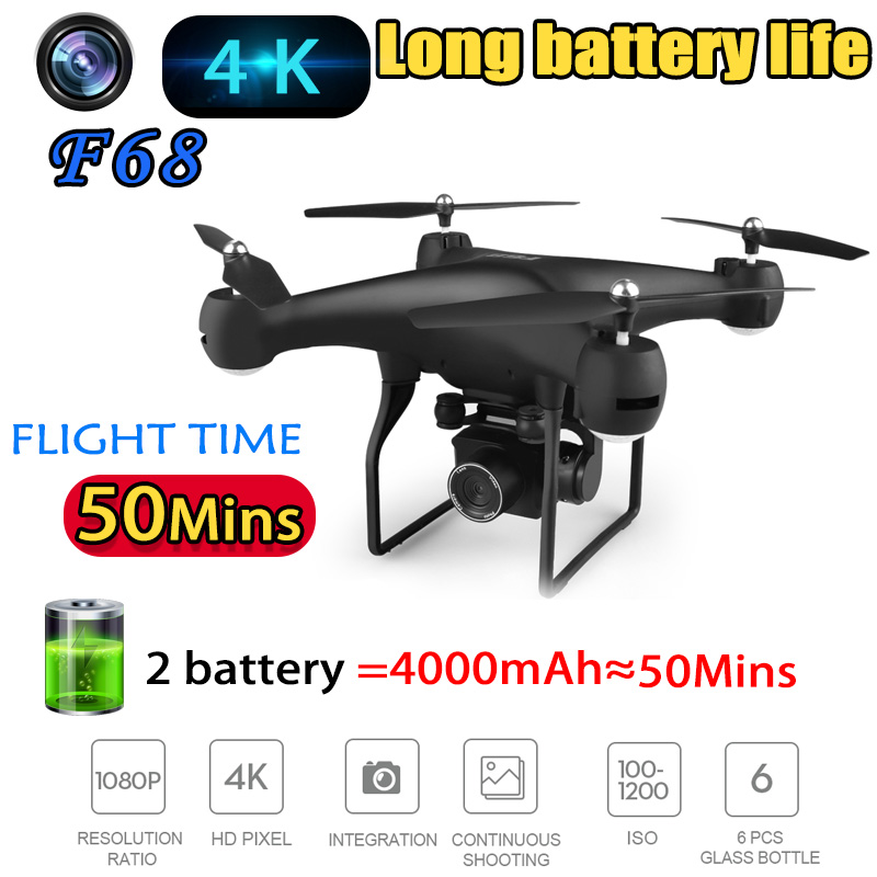 F68 2019 New Drone Super Long Life Endurance WIFI FPV With Camera 4K HD 1080P RC Drone Quadcopter Aircraft Helicopter For Kids