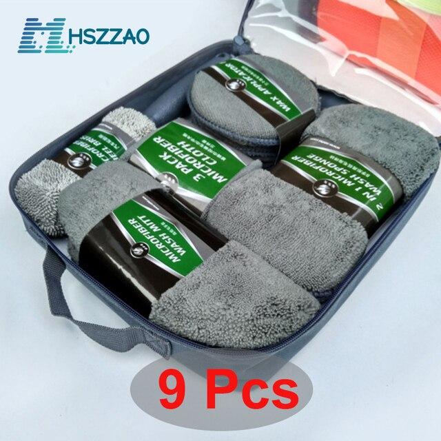 Kit de limpieza para coche, suministros de microfibra, toalla, detalle, cepillo de rueda de coche, esponja para encerar, combinación de herramientas de limpieza de coche