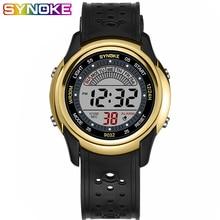 SYNOKE Boys Girls Gold Black Kids Watch Digital Student Fashion Wrist Watches Childrens Led Light Display Alarm Clock 9032