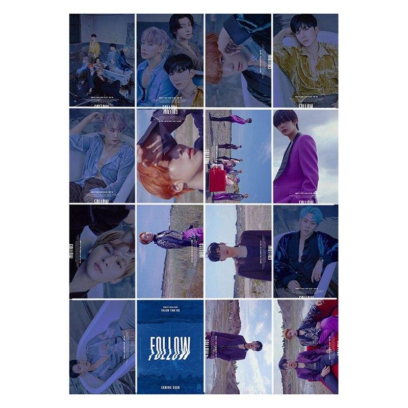 New Fashion 16Pcs/set KPOP MONSTA X Album Photo Card PVC Cards Self Made LOMO Card Photocard For Friends
