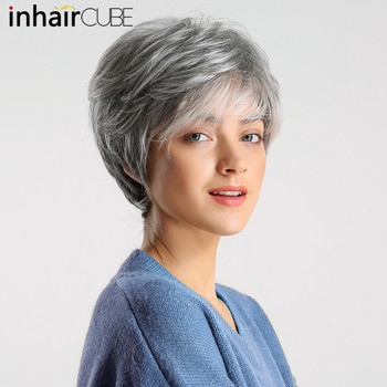 Inhair cube women wigs fluffy multi-layered hair short straight silver gray mixed natural synthetic hair wig with bangs elegant short layered siv hair fluffy straight full bang capless human hair wig for women