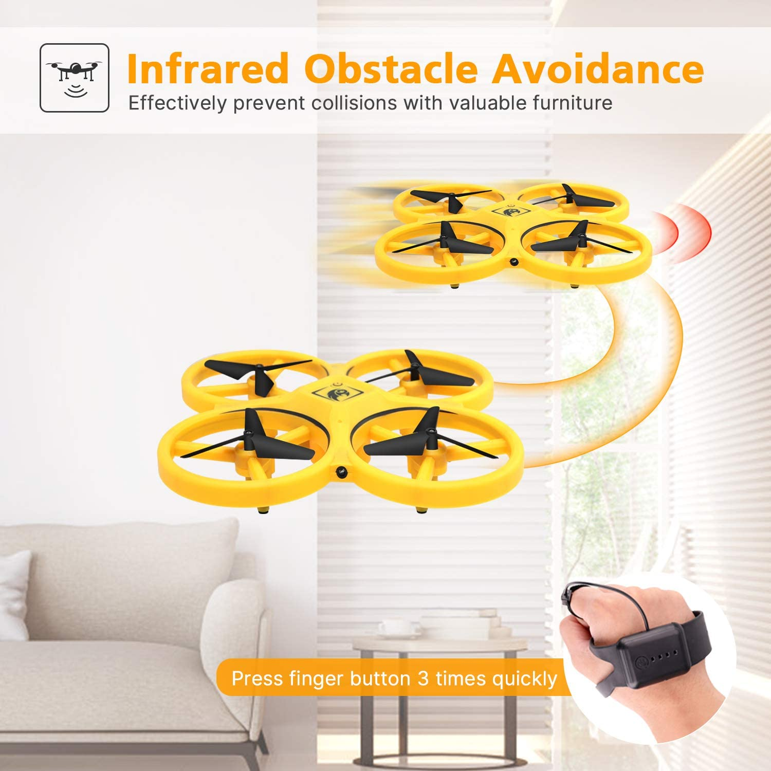 UFO RC Mini Quadcopter Induction Drone Smart Watch Remote Sensing Gesture Aircraft Hand Control Drone Altitude Hold Kids 5