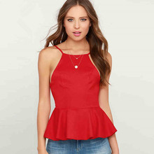 купить 2019 New Hanging Neck Vests Tank Camis For Women Fashion Brand Small Slings Explosion Personality Sexy Lady Tops Red Black Blusa по цене 804.37 рублей