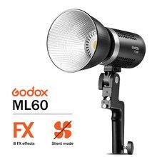 Godox – lumière LED Portable ML60 60, 60W, Mode silencieux, effets FX, réglage de la luminosité, éclairage d'extérieur