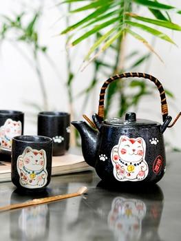 Hand Painted Japanese Style Ceramic Cute Lucky Cat Tea Set