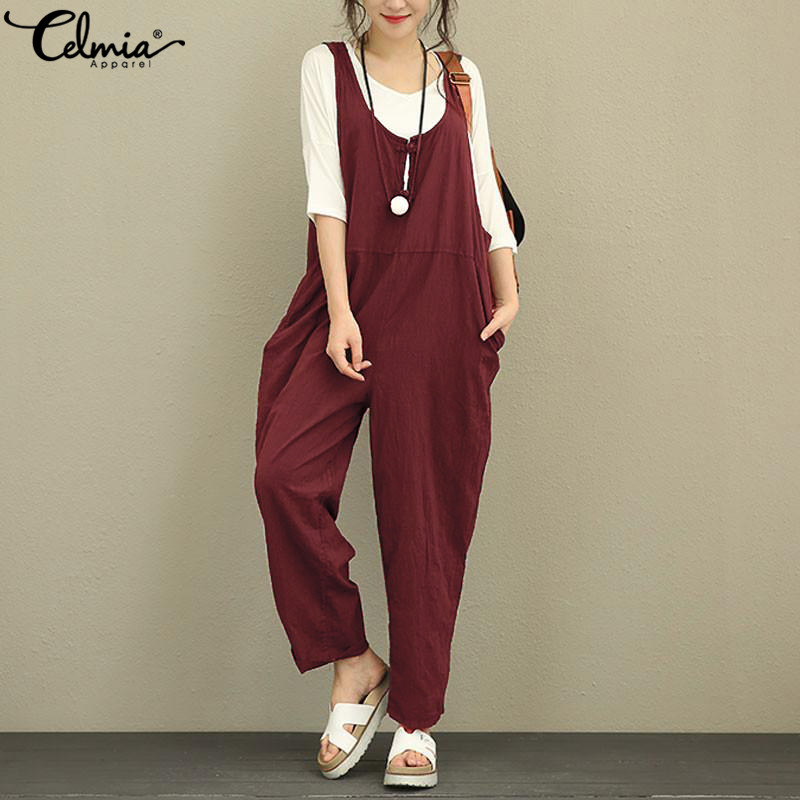 Celmia Women Jumpsuits Summer Casual Sleeveless Vintage Linen Playsuits Long Trousers Dungarees Rompers Plus Size Overalls 5XL