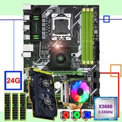Hàng Mới Về Huananzhi X58 Cao Cấp Bo Mạch Chủ Lưng CPU Xeon X5680 6 Heatpipes Mát Nhớ 24G (3*8 g) recc Video Thẻ GTX750TI