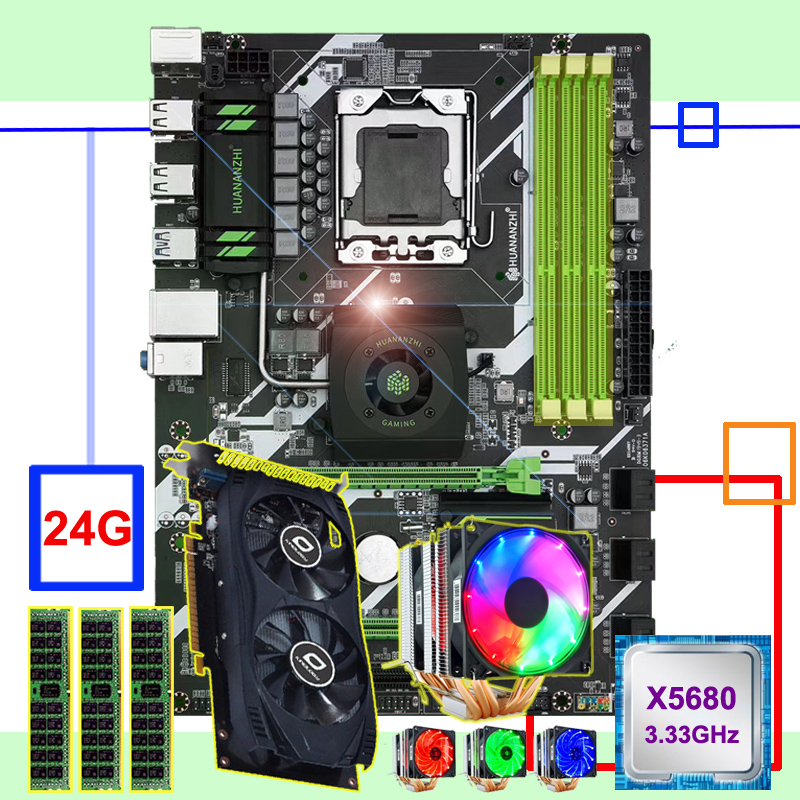 New Arrival HUANANZHI X58 Deluxe Motherboard Bundle CPU Xeon X5680 6 Heatpipes Cooler RAM 24G(3*8G) RECC Video Card GTX750TI 2G