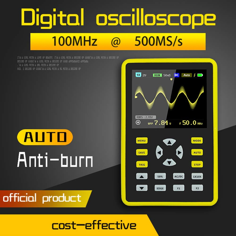 Digital Oscilloscope 2.4-inch Screen 500MS/s Sampling Rate 100MHz Analog Bandwidth Support Waveform Storage FNIRSI-5012H