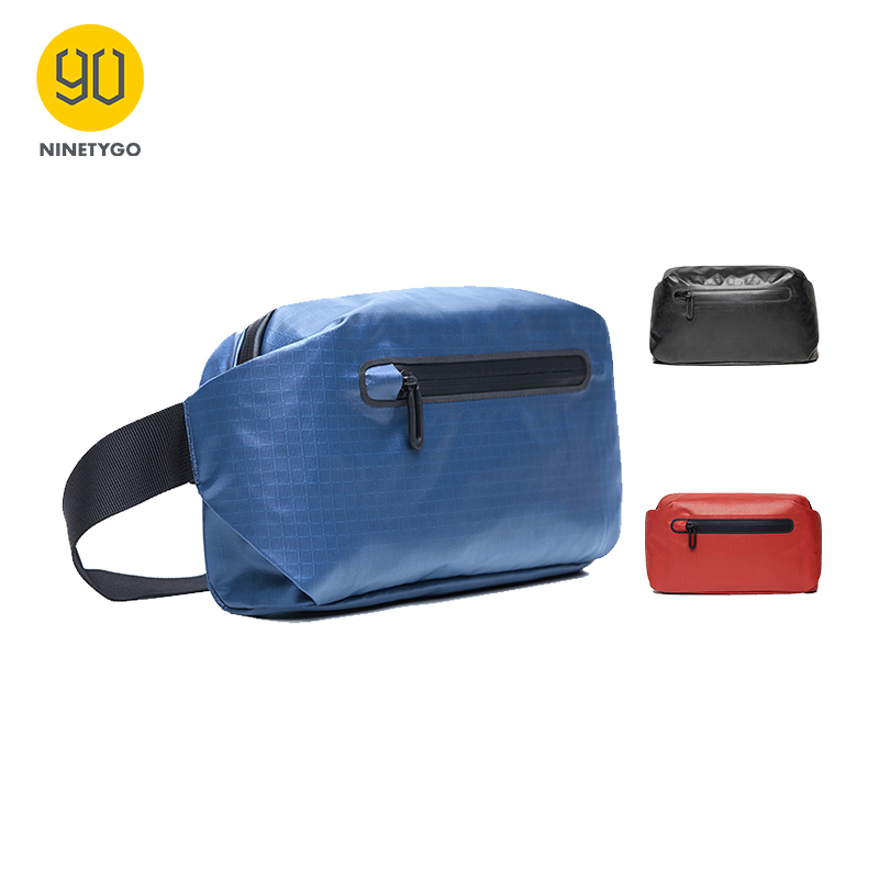 NINETYGO 90FUN Stylish Urban Leisure Fanny Pack Waist Bag Chest Bag Women/Men  Black/Orange/Blue Casual Style