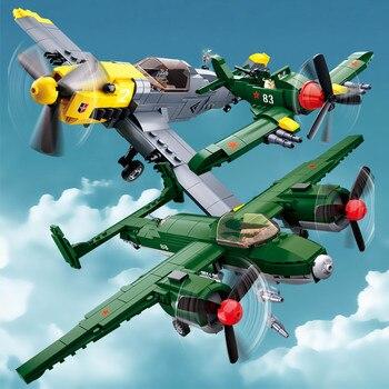 Military WW2 Army Air Forces BF-109 Fighter Soviet Union TU-2 Bomber Plane Building Blocks Playmobil Bricks Kids Education Toys