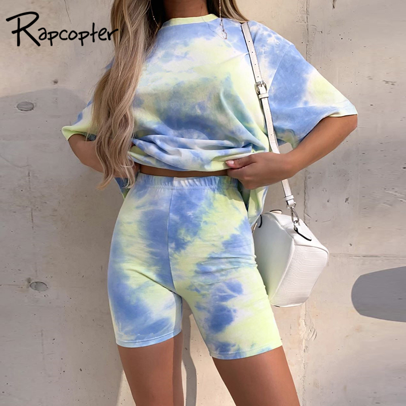Rapcopter Fitness Tie Dye Two Piece Set Casual Sporty Women Sporty Gym Summer Short Sleeve Oversize Top And Shorts Set Sweatsuit