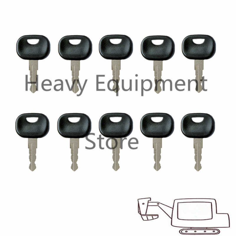 ANGEEK Pack of 10 replacement keys 14607 ignition keys for JCB Bobcat Bomag Manitou Tractor