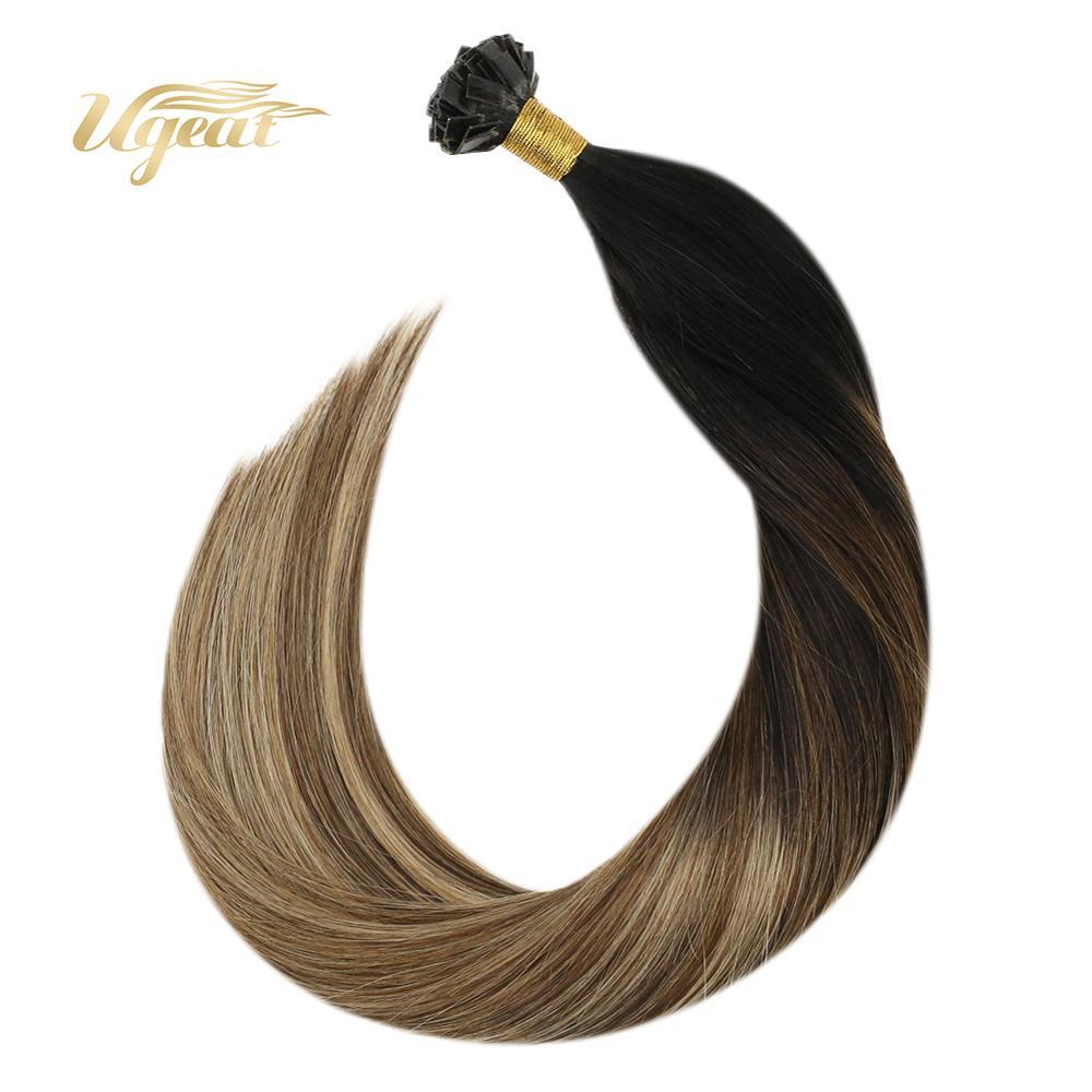Flat Tip Hair Extensions Keratin Hair Extensions Balayage Brown Hair 14-24