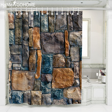 Waterproof Shower Curtain with Hooks Vintage 3D Stone Bricks Printed Bathroom Curtains High Quality Bath Bathing Sheer for Home