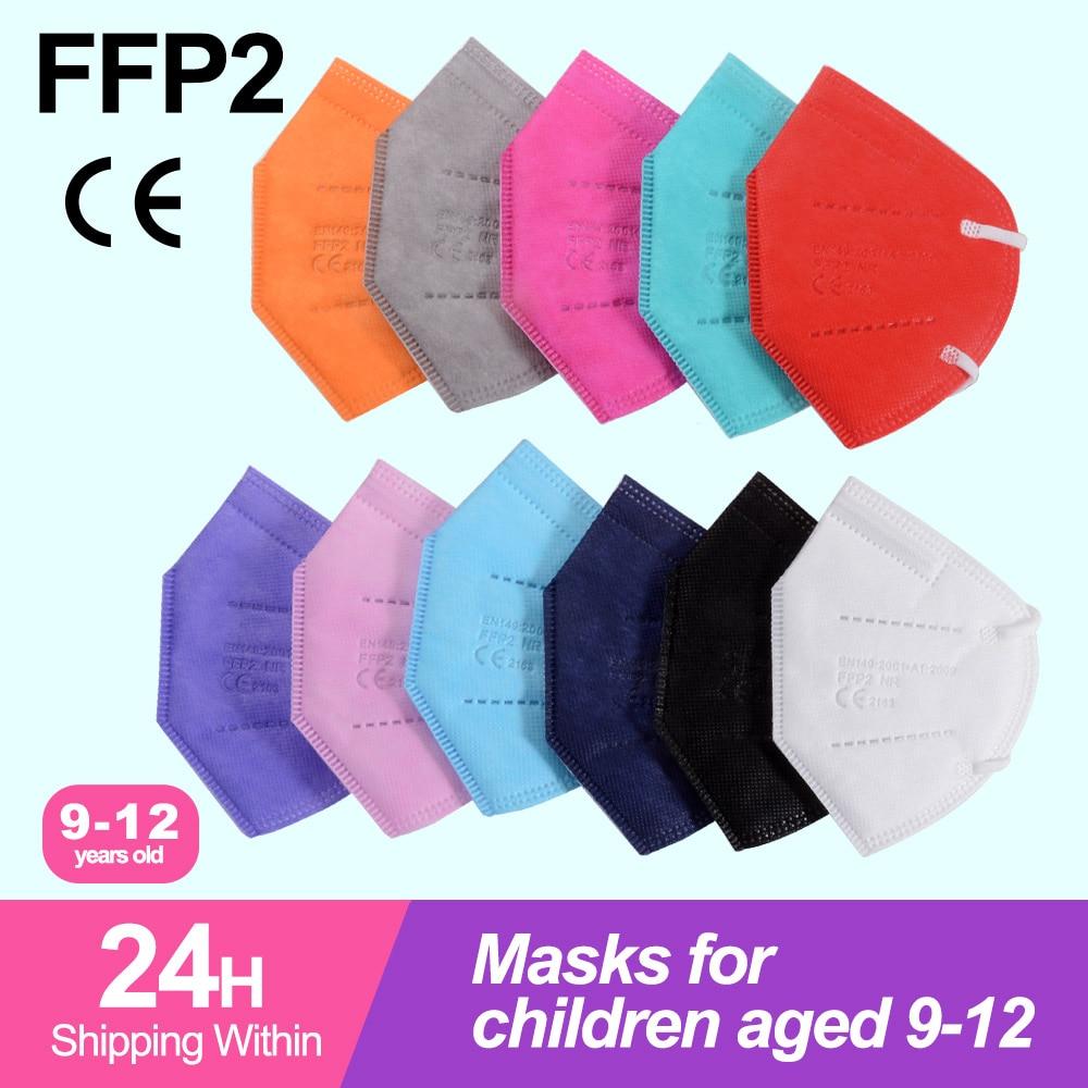 FFP2 KN95 Kids Mask 5 Layers Face Mask KN95 Mascarillas for age 9-12 Respirator Protective Mask KN95 Children Masks Dustproof