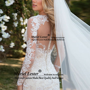 Image 2 - Vestido de noiva de mangas compridas, transparente, de casamento, apliques de renda, robe de casamento 2020