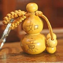 1 adet araba askı şanslı maun kabak zanaat çin geleneksel servet anahtarlık dekor anahtarlık