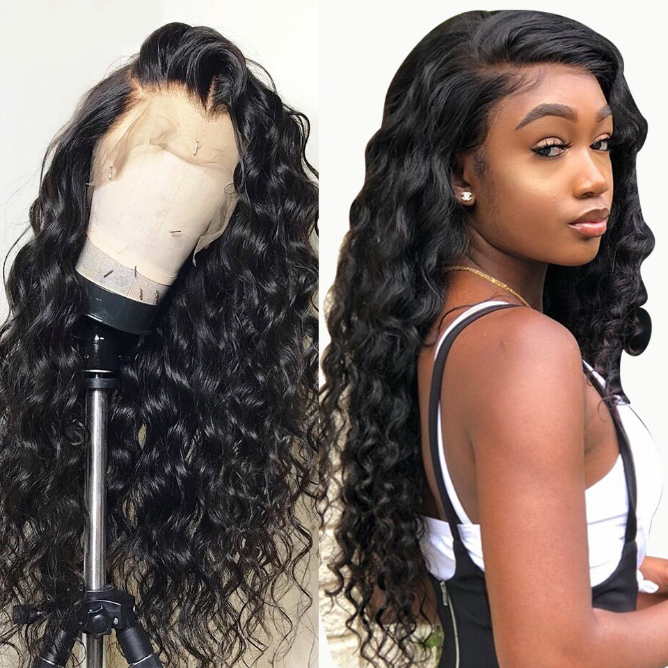 Peruvian Loose Deep Lace Front Wig 100% Human Hair Wig 4*4 Hunman Hair Wig Remy For Black Women Pre Plucked With Baby Hair