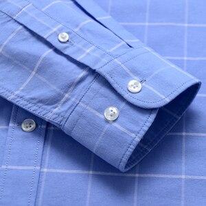 Image 3 - Moda masculina 100% algodão oxford xadrez listrado camisas único remendo bolso manga longa padrão ajuste outerwear camisa de trabalho casual