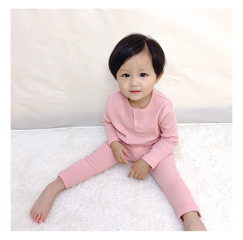 Soft Ribbed Toddler Girl Pajamas For Baby Boys Clothes Set Autumn Winter Children Outfits Long Sleeve Tops Pants 2 Pcs Kids Suit (15)