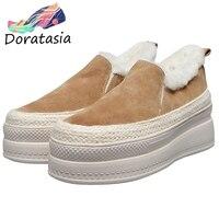 DORATASIA New Girl Genuine Leather Suede Shoes Woman Fashion Winter Warm Add Fur Flats Women 2019 Ladies High Platform Loafers