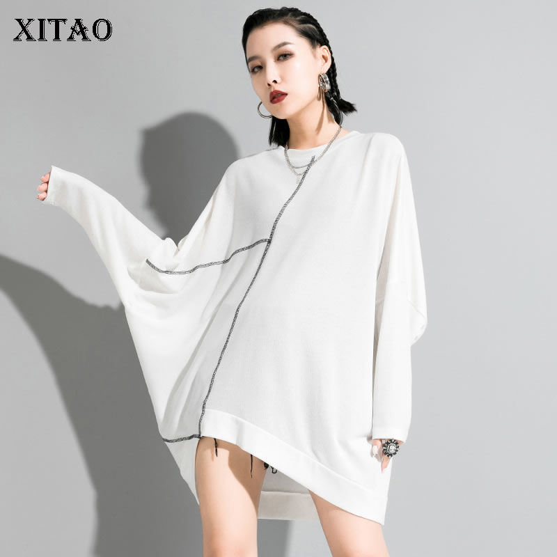 XITAO Irregular Women T Shirt Fashion Striped Pullover Irregular Full Sleeve Small Fresh Casual Minority Casual Tee XJ3772