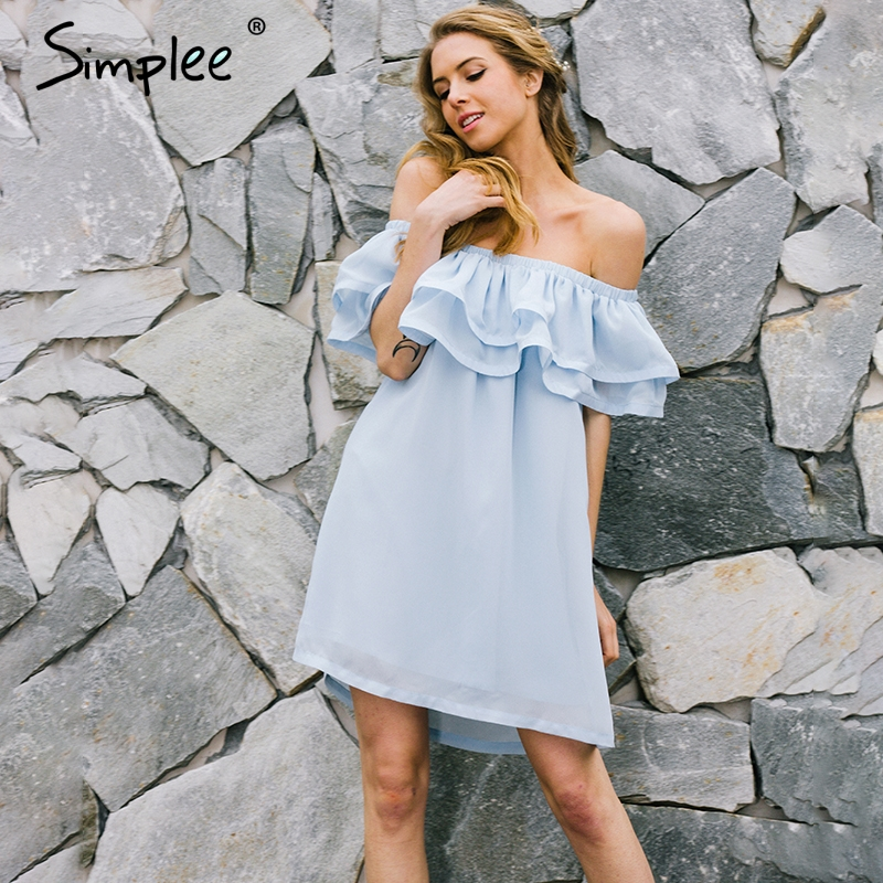 Simplee Chiffon ruffle short dress women Off shoulder sleeveless beach summer dress 2017 Lining elastic band  dress vestidos
