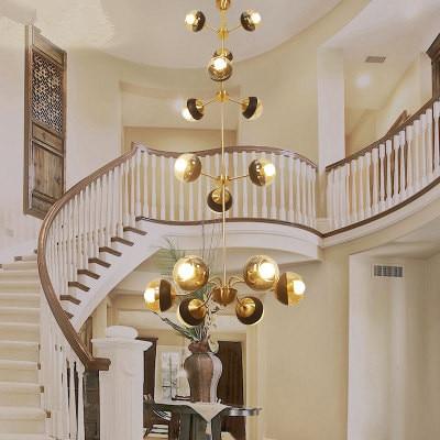 Vintage villa chandelier brass Large Chandelier modern Hotel retro Murano Glass Chandelier staircase Led Ceiling Chandeliers