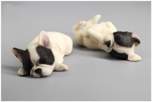 French Bulldog Sleep Black & White Dog Hand Painted Resin Figurine Statue A Pair