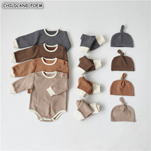 Baby Boy Clothes Newborn Baby Pajamas Set Romper Pants Hat 3Pcs Baby Clothing Set Girl Baby Nightwear Outfits Baby Sleepwear cheap CHILDLAND POEM Fashion COTTON Worsted REGULAR O-Neck Unisex Coat Fits true to size take your normal size Sets Full striped