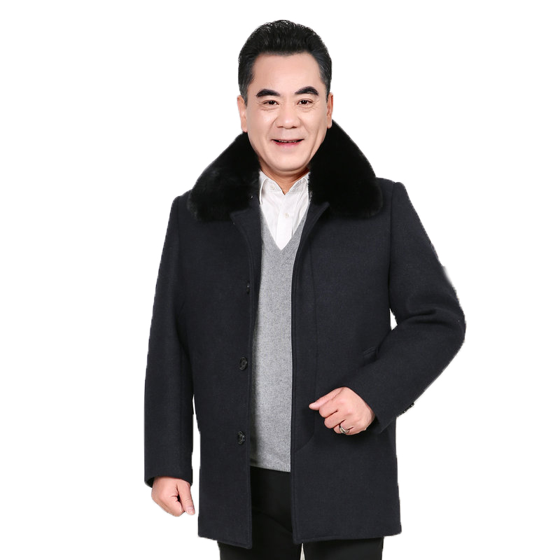 Father Winter Wool Blend Coat Fur Collar Thick Liner Warm Overcoat Mature Men Elegant Black Thicken Tweed Overgarment Male