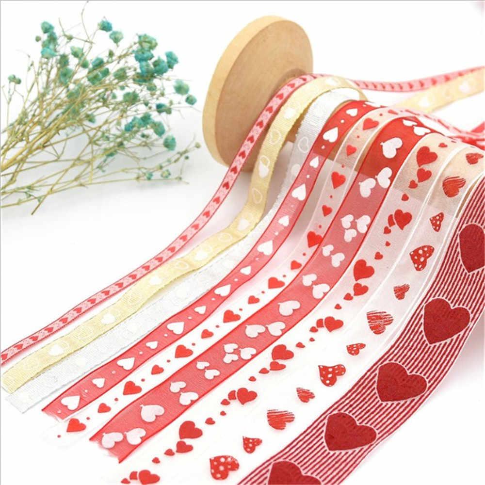 Vendita calda 1PC 10 Metro 15 millimetri Organza Nastro Da Imballaggio Cuore Nastri di Nozze per la Cerimonia Nuziale Regalo di San Valentino Decor FAI DA TE decorazione di cerimonia nuziale