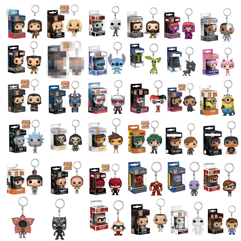 New Arrival FUNKO POP Pocket Toy Keychain Deku Morty Game Of Thrones Daenerys Marvel Iron Man Collectible Key Ring Model Gifts