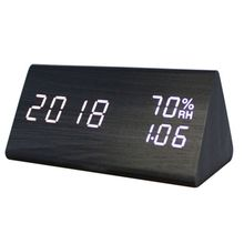 Digital Clock Wooden Electronic LED Time Display Temperature and Humidity Detect Clock For Bedroom Alarm Clock wsk303 frame size 96 96mm led digital display temperature and humidity controller