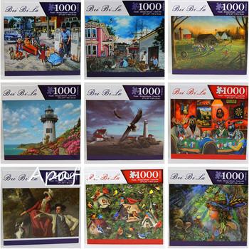 Gorąca sprzedaż 1000 sztuk Jigsaw Scenery Picture puzzle dorośli montaż puzzle zabawki dla dzieci gry dla dzieci zabawki edukacyjne prezenty tanie i dobre opinie Apaffa Unisex 6 lat 8 lat Papier 3D PUZZLE Krajobraz Puzzles Toys