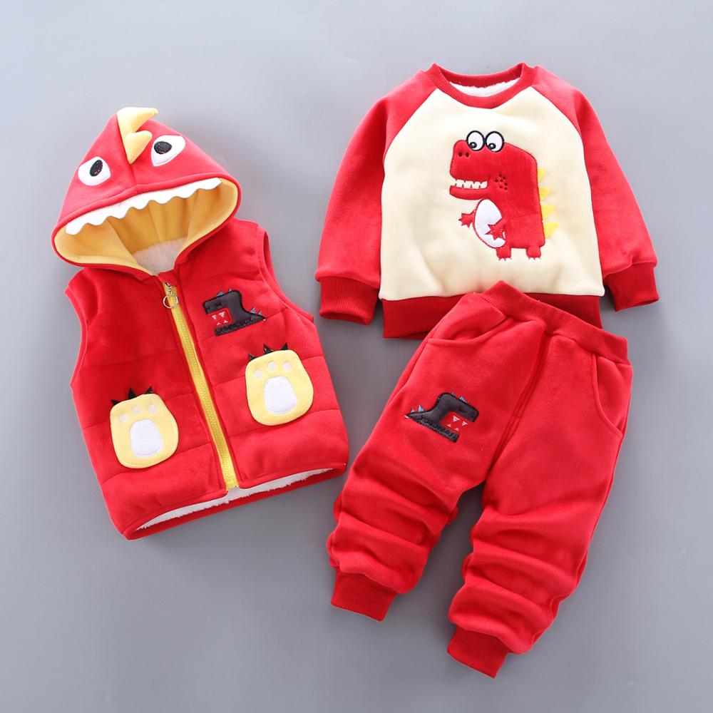 Baby Boy's Clothes Cotton Warm Suit Casual Sportswear Baby Cartoon Crocodile Plus Velvet Thick Sweater Hooded Vest Three-piece