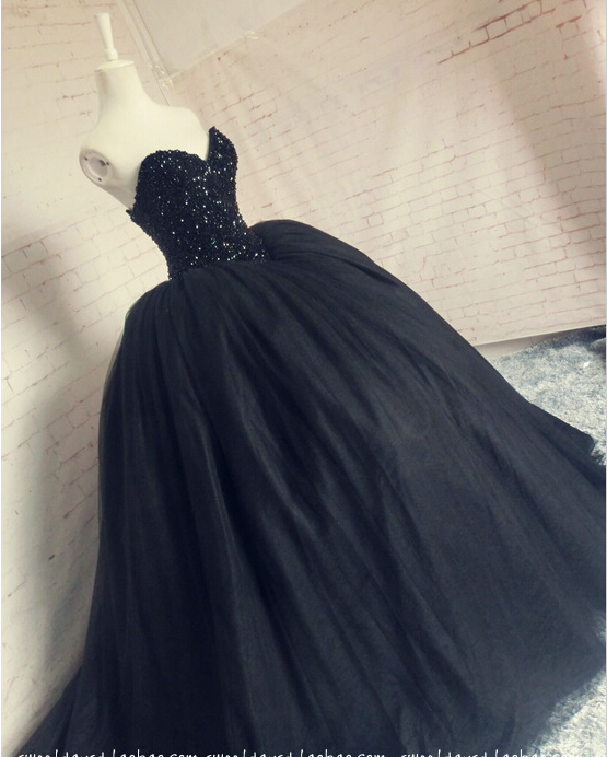 Real Photos Black Prom Ball Gown 2018 New Design Sexy Sweetheart Tulle Beading Custom Evening Woman Mother Of The Bride Dresses