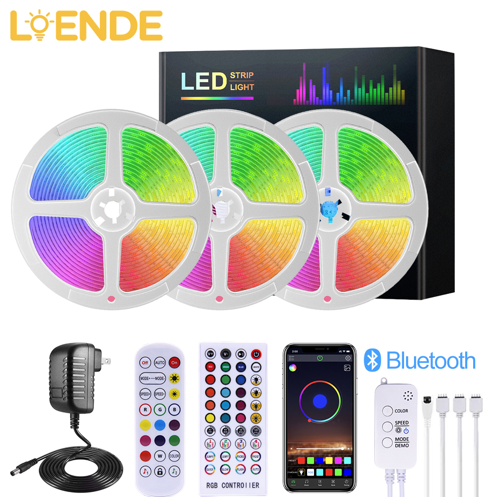 Bluetooth LED Strip Lights RGB 5050 SMD 2835 Flexible Ribbon DC12V RGB LED light 5M 10M 15M 20M with Bluetooth Music Controller