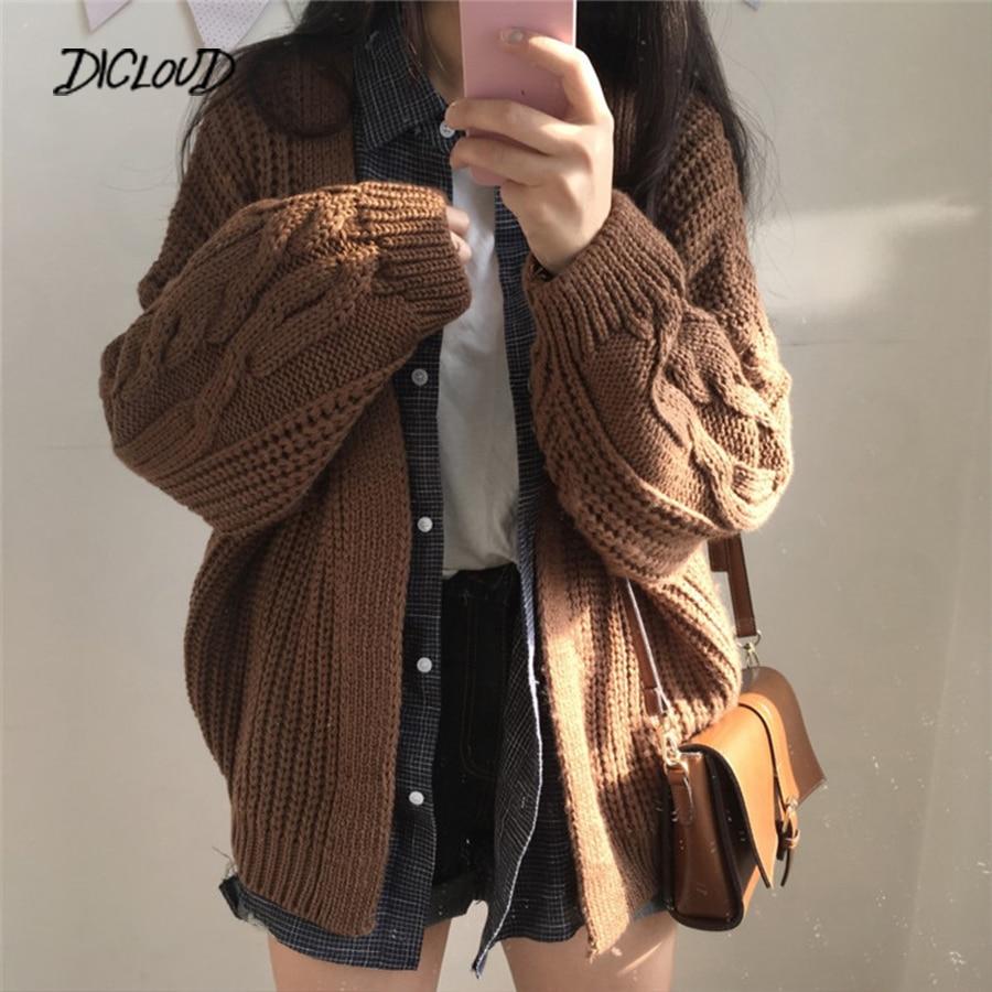DICLOUD New Autumn Knit Sweater Women 2019 Fashion Harajuku Loose Warm Cardigan Women College Casual Long Sleeve Winter Coat