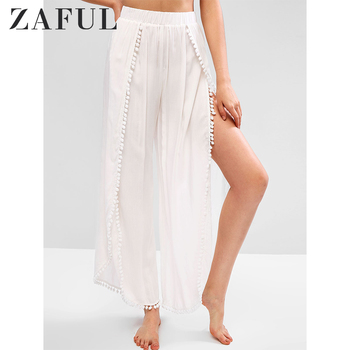 ZAFUL Women Pom Pom Slit High Rise Beach Pants High Waisted Side Slit Pants Rayon Bottoms Solid Spring Summer 2020 Fashion Pants фото