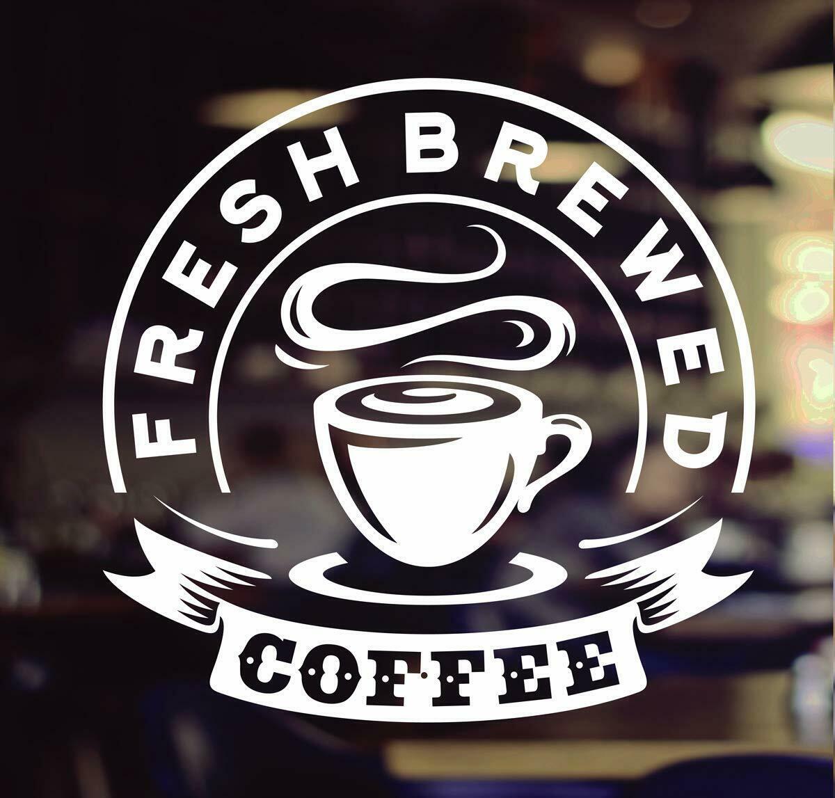 Coffee Takeaway cup Cafe Shop vinyl sticker Window Lettering Wall art sign decor