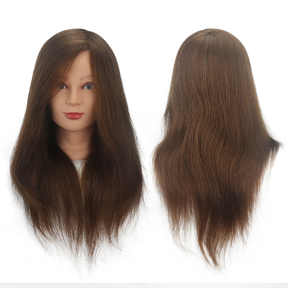 16/18 inch 100% real hair human brown black hairdresser training head dummy model with long hair styling practice head model image