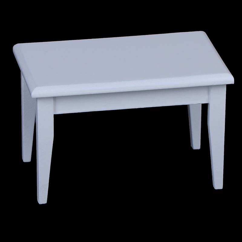 Kid Toy <font><b>Miniature</b></font> Dolls Simulation Toy 1/12 Dollhouse <font><b>Miniature</b></font> <font><b>Furniture</b></font> White Wooden Table Coffee Table image