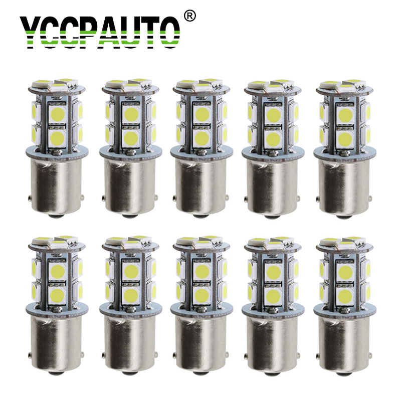 YCCPAUTO 10Pcs 1156 BA15S <font><b>LED</b></font> Bulbs 5050 13 SMD <font><b>Amber</b></font> White Red <font><b>P21w</b></font> <font><b>LED</b></font> Car Turn Signal Reverse Lights Parking Lamp DRL 12V image