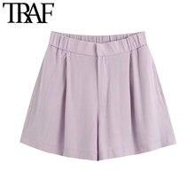TRAF de las mujeres de moda Chic sueltos Pantalones Cortos Vintage de alta cremallera con cintura elástica volar Mujer Pantalones Cortos