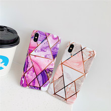 Purple Pink electroplating Marble cell phone cover For Apple iPhone 10 Xs max cases XR X 8 7 plus 6 6s