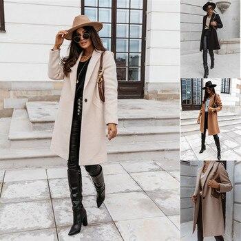 Autumn Winter Women Solid Color Lapel Medium Long Button Overcoat Female Coat 1