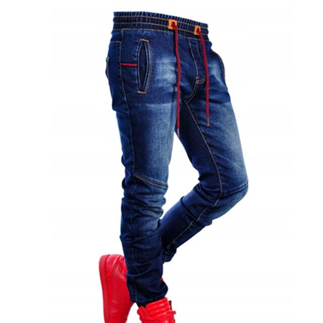 Pantalones vaqueros elásticos de talla grande para hombre, Vaqueros ajustados informales, clásicos, de cintura azul, elásticos, articulables, a la moda, Vaqueros simples 3