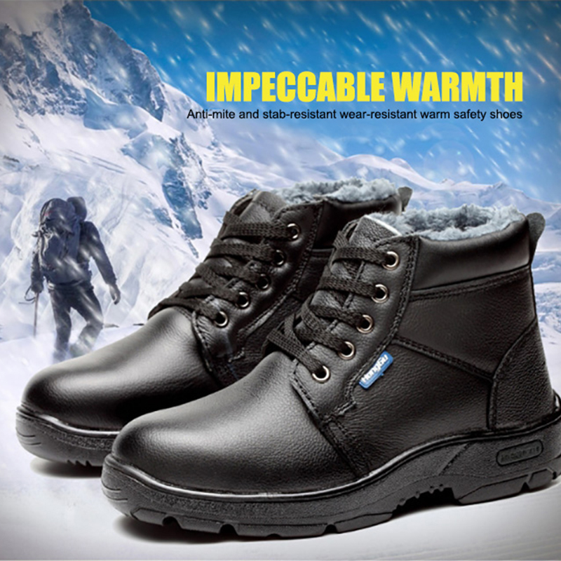 Winter Cotton Safety Work Shoes Men Boots Size 35-46 Cow Leather Puncture-Proof Casual Shoes Man Warm Ankle Boots Indestructible